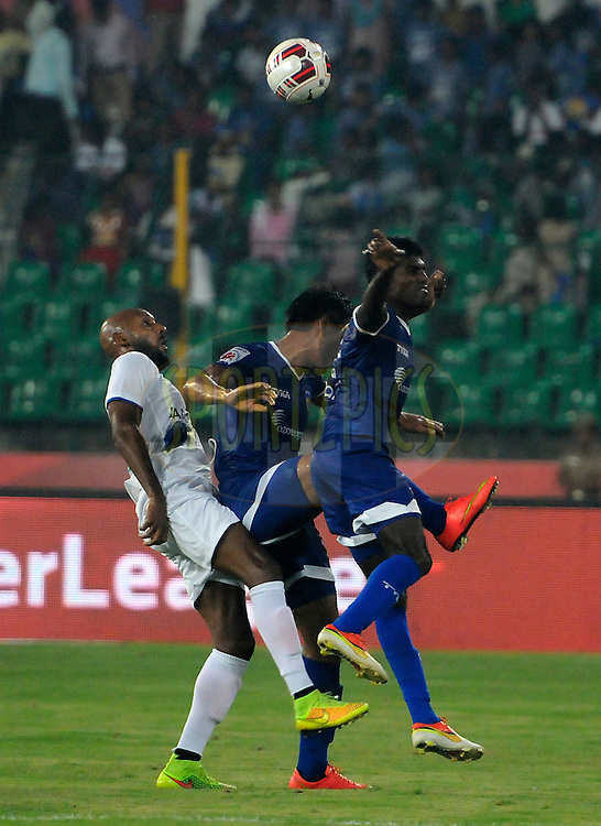 Nicolas Anelka of Mumbai City FC in action during match 15 of the Hero Indian Super League between Chennaiyin FC and Mumbai City FC held at the Jawaharlal Nehru Stadium, Chennai, India on the 28th October 2014.<br /> <br /> Photo by:  Pal Pillai/ ISL/ SPORTZPICS