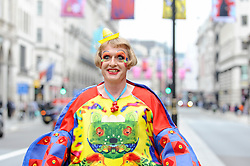 © Licensed to London News Pictures. 04/06/2018. London, UK.  Grayson Perry RA poses at a photocall to celebrate the 250th anniversary of the Royal Academy's Summer Exhibition where over 200 flags, designed by celebrated Royal Academicians, decorate the streets of the West End.  Photo credit: Stephen Chung/LNP