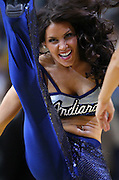 March 29, 2012; Indianapolis, IN, USA; An Indiana Pacers cheerleader dances on the court during a timeout at Bankers Life Fieldhouse. Indiana defeated Washington 93-89. Mandatory credit: Michael Hickey-US PRESSWIRE