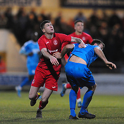 TELFORD COPYRIGHT MIKE SHERIDAN Matt Stenson of Telford (on loan from Solihull Moors) battles for the ball with Danny Livesey during the Vanarama Conference North fixture between AFC Telford United and Chester at the 1885 Arena Deva Stadium on Saturday, December 21, 2019.<br /> <br /> Picture credit: Mike Sheridan/Ultrapress<br /> <br /> MS201920-035
