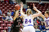 March 3, 2018: The Lubbock Christian University Lady Chaparrals play against the Oklahoma Christian University Lady Eagles in the semifinals of the Heartland Conference women's basketball tournament at the Union Multipurpose Activity Center in Tulsa, Oklahoma.