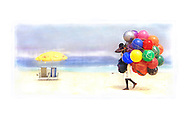 Yellow Umbrella.  A ball vendor walks the beach at an unusually empty spot at Ipanema Beach, Rio de Janiero, Brazil.