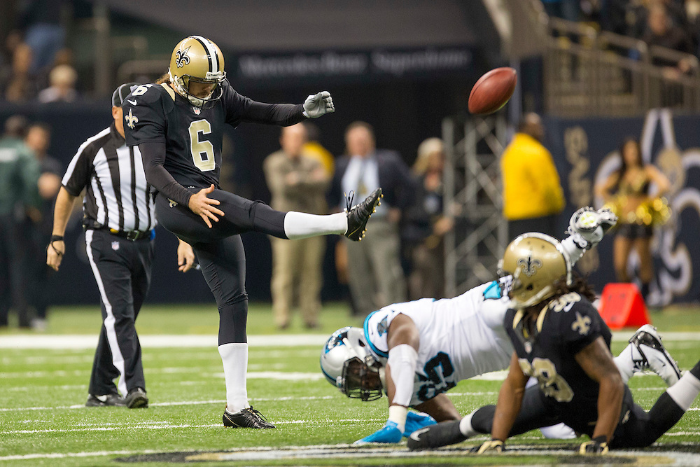 NEW ORLEANS, LA - DECEMBER 30:  Thomas Morstead #6 of the New Orleans Saints punts the ball against the Carolina Panthers at Mercedes-Benz Superdome on December 30, 2012 in New Orleans, Louisiana.  The Panthers defeated the Saints 44-38.  (Photo by Wesley Hitt/Getty Images) *** Local Caption *** Thomas Morstead
