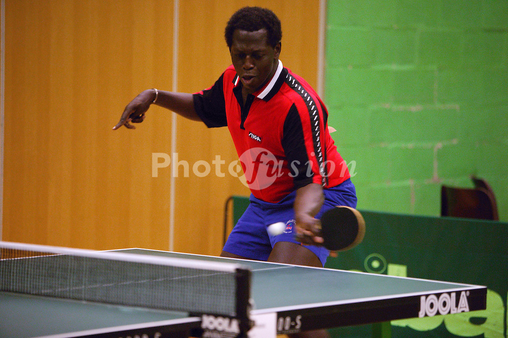 Disability Sport England Athletics Championships 2003 games; disabled athlete taking part in a table tennis event,