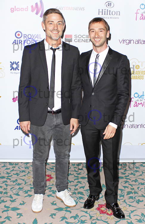 Cameron Laux & Charlie Condou, The Out In The City & g3 Readers Awards, The Landmark Hotel, London UK, 25 April 2014, Photo by Brett D. Cove