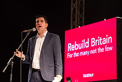 © Licensed to London News Pictures. 24/10/2019. Bristol, UK. RICHARD BURGON MP, Shadow Secretary of State for Justice,  speaks at a Labour Party rally at The Marble Factory at Motion nightclub in Bristol, on the day the prime minister proposed a general election this December. Labour leader Jeremy Corbyn was due to speak at the event but it was announced onstage that he was not coming as he was dealing with the election proposal in London. Labour are promising the biggest people-powered campaign the country has ever seen. Photo credit: Simon Chapman/LNP.