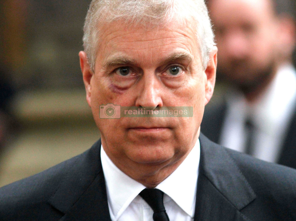 The Duke of York leaves the funeral of Countess Mountbatten of Burma at St Paul's Church, Knightsbridge, London.