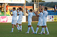 Picture by Ian Wadkins/Focus Images Ltd +44 7877 568959<br /> 25/07/2013<br /> Players of FC Rijeka celebrate after winning the second leg of the UEFA Europa League round two qualifying match against Prestatyn Town at Belle Vue Stadium, Rhyl.