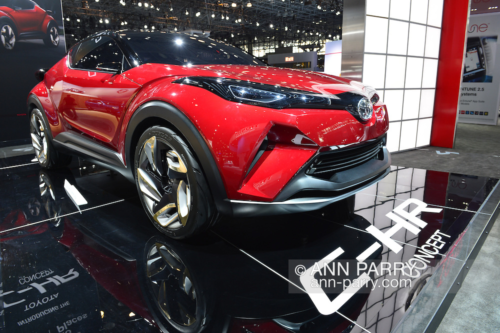 A red Toyota C-HR Concept car is on display at the New York International Auto Show 2016, at the Jacob Javits Center. This was Press Preview Day one of NYIAS, and the Trade Show will be open to the public for ten days, March 25th through April 3rd.