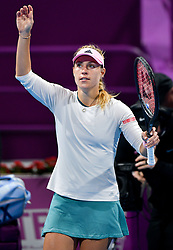 DOHA, Feb. 15, 2019  Angelique Kerber of Germany celebrates winning the women's singles quarterfinal between Barbora Strycova of the Czech Republic and Angelique Kerber of Germany at the 2019 WTA Qatar Open in Doha, Qatar, Feb. 14, 2019. Angelique Kerber won 2-1. (Credit Image: © Nikku/Xinhua via ZUMA Wire)