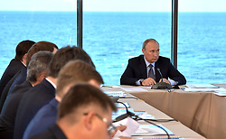 August 4, 2017 - Republic of Buryatia, Russia - August 4, 2017. - Russia, Republic of Buryatia. - Russian President Vladimir Putin chairs a meeting on the ecological development of the Baikal nature site in the village of Tankhoi in the Baikal State Natural Biosphere Reserve. (Credit Image: © Russian Look via ZUMA Wire)