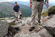 John Walcott, right, leads Jared Leonard up the Cathedral Trail to the summit of Mt Katahdin in Maine's Baxter State Park.  Walcott clmibed the mountain, as he has been doing almost yearly since 1976, in celebration of his 60th birthday.