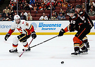 Calgary Flames forward Troy Brouwer (L) and Anaheim Ducks forward Antoine Vermette (2nd R) vie for the puck during a 2017-2018 NHL hockey game in Anaheim, California, the United States, on Oct. 9, 2017.  Calgary Flames won 2-0. (Xinhua/Zhao Hanrong)