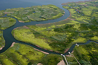 Aerial of Ragged Rock Creek marsh along Connecticut River at Old Saybrook, CT.