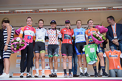 (L to R) Anna van der Breggen, Demi de Jong, Anouska Koster, Alexis Ryan, Winanda Spoor, Annemiek van Vleuten at Boels Rental Ladies Tour Stage 5 a 141.8 km road race from Stamproy to Vaals, Netherlands on September 2, 2017. (Photo by Sean Robinson/Velofocus)