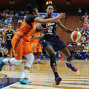 UNCASVILLE, CONNECTICUT- JUNE 3:   Bria Holmes #32 of the Atlanta Dream is defended by Alex Bentley #20 of the Connecticut Sun during the Atlanta Dream Vs Connecticut Sun, WNBA regular season game at Mohegan Sun Arena on June 3, 2016 in Uncasville, Connecticut. (Photo by Tim Clayton/Corbis via Getty Images)
