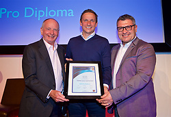 NEWPORT, WALES - Friday, May 18, 2018: Pepijn Lijnders receives his UEFA Pro Licence Diploma from Lennie Lawrence (left) and Wales technical director Osian Roberts (right) during day one of the Football Association of Wales' National Coaches Conference 2018 at the Celtic Manor Resort. (Pic by David Rawcliffe/Propaganda)