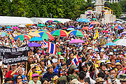 04 AUGUST 2013 - BANGKOK, THAILAND: About 2,000 people, members of the  People's Army against Thaksin Regime, a new anti-government group, protested in Lumpini Park in central Bangkok. The protest was peaceful but more militant protests are expected later in the week when the Parliament is expected to debate an amnesty bill which could allow Thaksin Shinawatra, the exiled former Prime Minister, to return to Thailand.      PHOTO BY JACK KURTZ