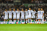 Leeds United players during the penalty shoot out during the EFL Cup match between Leeds United and Stoke City at Elland Road, Leeds, England on 27 August 2019.