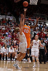 Dec 20, 2011; Stanford CA, USA;  Tennessee Lady Volunteers guard/forward Shekinna Stricklen (40) shoots over Stanford Cardinal forward Joslyn Tinkle (44) during the first half at Maples Pavilion.  Mandatory Credit: Jason O. Watson-US PRESSWIRE