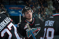 KELOWNA, CANADA - DECEMBER 2: Rourke Chartier #14 of Kelowna Rockets stands at the bench after scoring his third goal to make a hat trick against the Kootenay Ice on December 2, 2015 at Prospera Place in Kelowna, British Columbia, Canada.  (Photo by Marissa Baecker/Shoot the Breeze)  *** Local Caption *** Rourke Chartier;