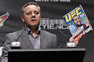 "SYDNEY, AUSTRALIA, FEBRUARY 23, 2011: UFC vice president Marshall Zelaznik holds a copy of the newly launched ""UFC Australia"" magazine during the pre-fight press conference for ""UFC 127: Penn vs. Fitch"" inside Star City Hotel and Casino in Sydney, Australia on February 23, 2011"