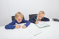 Little boy and daughter writing on documents at table