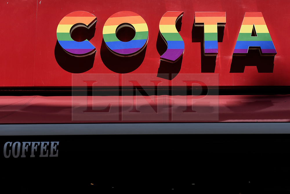 © Licensed to London News Pictures. 29/06/2018. LONDON, UK.  A Costa coffee shop joins other stores in the Oxford Street area with a rainbow makeover in support of the Pride Festival, a worldwide celebration of the LGBT community.  The popular annual Pride London parade takes place in the capital on 7 July.  Photo credit: Stephen Chung/LNP