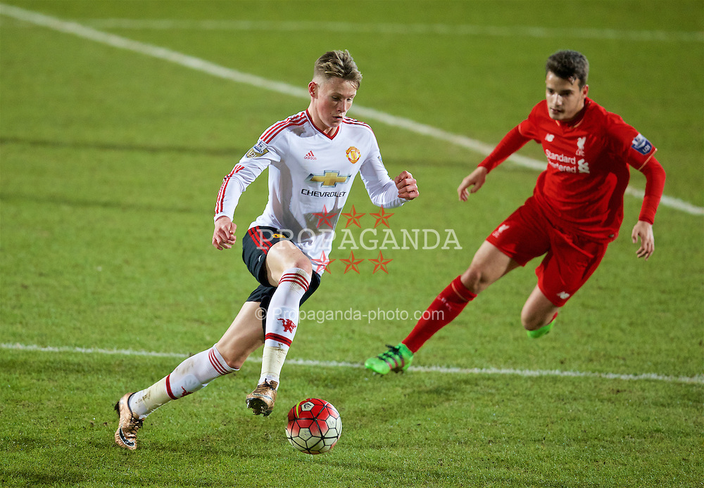 BIRKENHEAD, ENGLAND - Friday, March 11, 2016: Manchester United's Scott McTominay in action against Liverpool during the Under-21 FA Premier League match at Prenton Park. (Pic by David Rawcliffe/Propaganda)