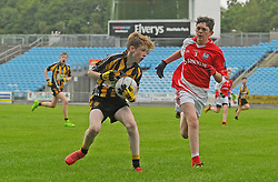 Parke Keelogues Crimlin Sean Hanley trying to get past Belmullet&rsquo;s Conor Barrett during the U14 B final.<br /> Pic Conor McKeown