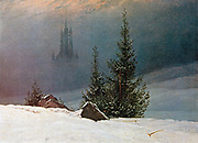 German Romantic artist Caspar David Friedrich (1774–1840). Winter Landscape with Church 'Winterlandschaft mit Kirche' 1811 Oil on canvas.'Dortmund Museum für Kunst und Kulturgeschichte