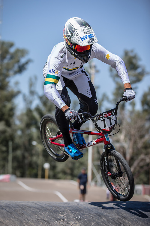 #77 (SAKAKIBARA Kai) AUS at round 8 of the 2018 UCI BMX Supercross World Cup in Santiago del Estero, Argentina.