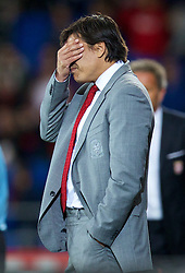 10.09.2013, Stamford Bridge, Cardiff, ENG, FIFA WM Qualifikation, Wales vs Serbien, Rueckspiel, im Bild Wales' manager Chris Coleman looks dejected as his side lose 3-0 to Serbia during the FIFA World Cup Qualifier second leg Match between Wales and Serbia at the Stamford Bridge stadium in Cardiff, Great Britain on 2013/09/10. EXPA Pictures © 2013, PhotoCredit: EXPA/ Propagandaphoto/ Alan Seymour<br /> <br /> ***** ATTENTION - OUT OF ENG, GBR, UK *****