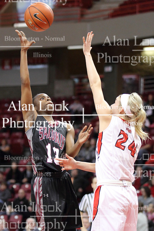 04 January 2015: Rishonda Napier lifts a shot over Katy Winge  during an NCAA MVC (Missouri Valley Conference) women's basketball game between the Southern Illinois Salukis and the Illinois Sate Redbirds at Redbird Arena in Normal IL