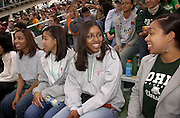 16701Homecoming Football Game Bowling Green vs. Ohio, Marching 110:students 2004..Karen Davis,Kendra Dewberry,Erika Turner,Othni Jurist