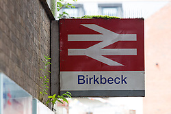 © Licensed to London News Pictures. 12/07/2016. LONDON, UK.  A general view of Birkbeck Station. Southern Rail have introduced an emergency timetable and cancelled many services, including all trains to London Bridge from Birkbeck station in zone 4. A tram service to East Croydon station is still running from Birkbeck station.  Commuters staged a protest against delayed, cancelled and overcrowded Southern Rail train services last night at Victoria Station in London. Photo credit: Vickie Flores/LNP