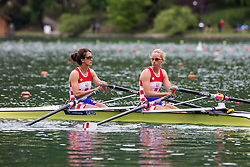 Milosevic Marcela and Milosevic Karla of Croatia competing during qualifying round  Rowing World Cup on May 9, 2015, at Bled's lake, Bled, Slovenia. (Photo by Grega Valancic / Sportida)