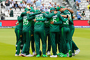 The Pakistan players huddle before taking to the field during the ICC Cricket World Cup 2019 match between Pakistan and South Africa at Lord's Cricket Ground, St John's Wood, United Kingdom on 23 June 2019.