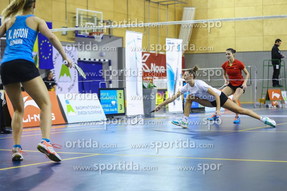 Nika Arih (BK Mirna) and Kaja Stankovic (BK Ljubljana) during 58th Slovenian national championship in badminton on Februar 1, 2015 in Zg. Kungota, Slovenia. (Photo By Grega Valancic / Sportida)