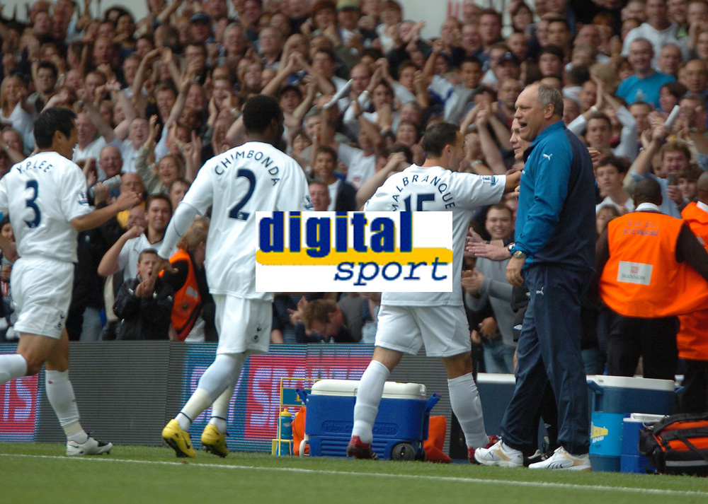 Photo: Tony Oudot.<br /> Tottenham Hotspur v Derby County. The FA Barclays Premiership. 18/08/2007.<br /> two goalscorer Steed Malbranque celebrates his first goal with the Tottenham bench