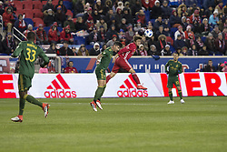 March 10, 2018 - Harrison, New Jersey, United States - Benjamin Mines (17) of Red Bulls & Liam Ridgewell (24) of Portland Timbers fight for ball regular MLS game at Red Bull Arena Red Bulls won 4 - 0 (Credit Image: © Lev Radin/Pacific Press via ZUMA Wire)