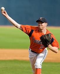 Virginia Cavaliers RHP Robert Poutier (34)..The Virginia Cavaliers baseball team held a seven game Orange and Blue World Series at Davenport Field in Charlottesville, VA.  Images are from Game 6 held on October 22, 2007.