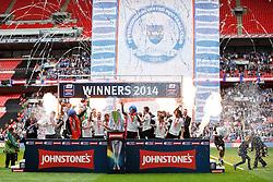Peterborough  celebrate their 3-1 win - Photo mandatory by-line: Rogan Thomson/JMP - 07966 386802 - 30/03/2014 - SPORT - FOOTBALL - Wembley Stadium, London - Chesterfield FC v Peterborough United - Johnstone's Paint Trophy Final.