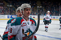 KELOWNA, CANADA - NOVEMBER 11:Dillon Dube #19 of the Kelowna Rockets skates to the bench against the Red Deer Rebelson November 11, 2017 at Prospera Place in Kelowna, British Columbia, Canada.  (Photo by Marissa Baecker/Shoot the Breeze)  *** Local Caption ***