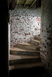 © Licensed to London News Pictures. 23/06/2015. Leeds, UK. Rarely seen hidden Tudor tunnels & cellars of Temple Newsam house in Yorkshire. Picture shows a hidden stairwell underneath the house. Temple Newsam is famous as the birth place of Lord Darnley, notorious husband of Mary Queen of Scots. The Tudor-Jacobean mansion is set in 1,500 acres with grounds landscaped by Capability Brown. Photo credit : Andrew McCaren/LNP