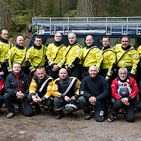 Tayside Fire & Rescue Water Rescue Exercise, The Hermitage, Dunkeld, Perthshire...04.05.10<br /> Back row from left, Firefighters, Rob Green, Stuart Morrison, Terry Walker, Jim Roberts, Paul McCallum, Grant Christie, Stewart Reid, Dave Lees, Charlie Kidd and Ross Cuthill.<br /> Front from left, Nici D'Arcy Taydside Police Search & Recsue Team, then Tayside Mountain Rescue Team members, Stuart Johnston, Dave Strachan, Paul Russell, Earle Wilson, Roger Clare and Jon Sanders.<br /> Picture by Graeme Hart.<br /> Copyright Perthshire Picture Agency<br /> Tel: 01738 623350  Mobile: 07990 594431