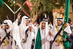 Saudi King Salman Bin Abdelaziz (or Abdul Aziz) Al Saud (3rd from L) dances the 'ardha' or traditional sword dance with US President Donald Trump in Riyadh, Saudi Arabia on May 20, 2017. This is the first US president's visit abroad. Photo by Balkis Press/ABACAPRESS.COM