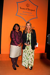 BARONESS VERMA presents the Veuve Clicquot Business Woman of the Year Award to ANYA HINDMARCH at the annual Veuve Clicquot Business Woman of the Year Award this year celebrating it's 40th year, held at Claridge's, Brook Street, London on 18th April 2012.