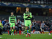 Forest Green Rovers Mark Roberts(21)) applauds the Forest Green fans at full time during the EFL Sky Bet League 2 match between Grimsby Town FC and Forest Green Rovers at Blundell Park, Grimsby, United Kingdom on 9 December 2017. Photo by Paul Thompson.