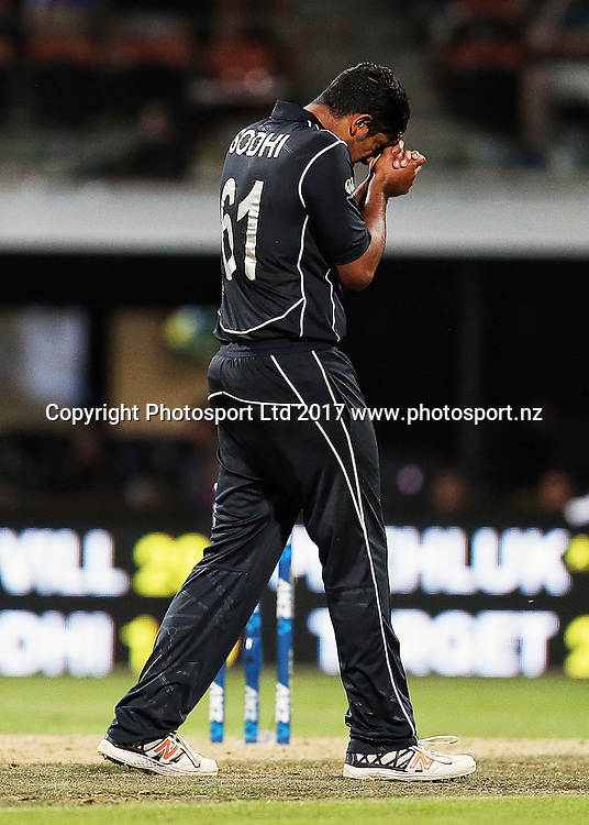 Blackcaps' Ish Sodhi reacts after conceding a boundary during the One Day International cricket match - New Zealand Black Caps v South Africa played at Seddon Park, Hamilton, New Zealand on Sunday 19 February 2017.  Copyright photo: Bruce Lim / www.photosport.nz